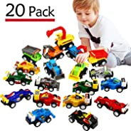 Funcorn Toys Pull Back Car, 20 Pcs Assorted Mini Truck Toy and Race Car Toy Kit Set, Play Construction Vehicle Playset Educat