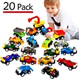 Funcorn Toys Pull Back Car, 20 Pcs Assorted Mini Truck Toy and Race Car Toy Kit Set, Play Construction Vehicle Playset Educational Preschool for Kids Children Party Favors Birthday Game Supplies