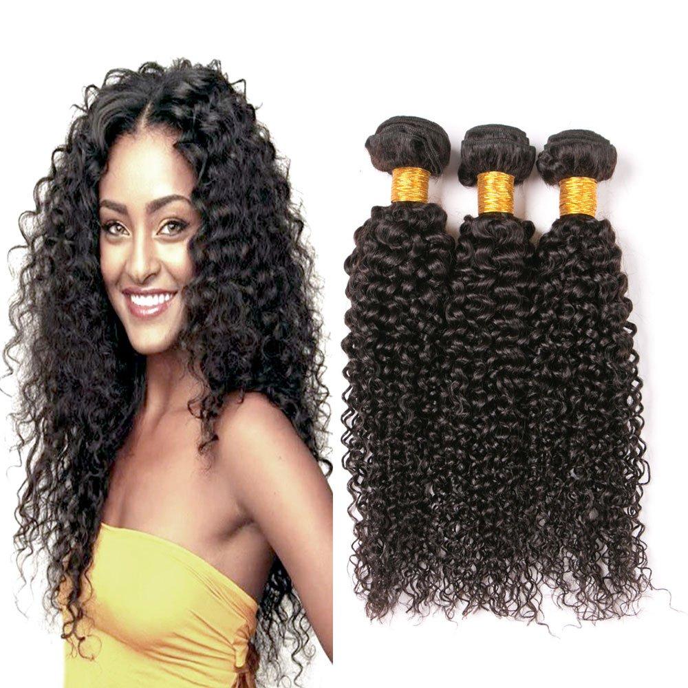 Lovely 3 Bundles Virgin Brazilian Curly Hair Weaves 24 26 28 9a