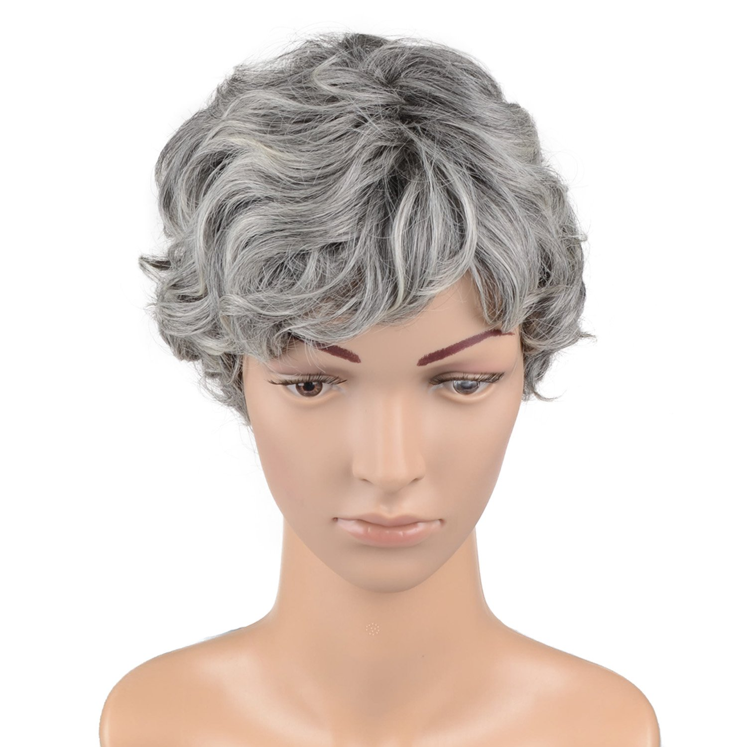 Hawkko Curly Short Cosplay Women Wig Kanekalon Fiber Party Wigs (Granny Gray)