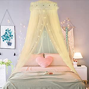 Jeteven Girl Bed Canopy Lace Mosquito Net for Girls Bed, Princess Play Tent Reading Nook Round Lace Dome Curtains Baby Kids Games House (Yellow)