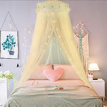 Jeteven Ciel de lit Moustiquaire Jaune, Ciel de Lit Princesse Moustiquaire  Dôme Polyester, Décoration pour Chambre Bébé ou Enfant (Hauteur 240 cm)