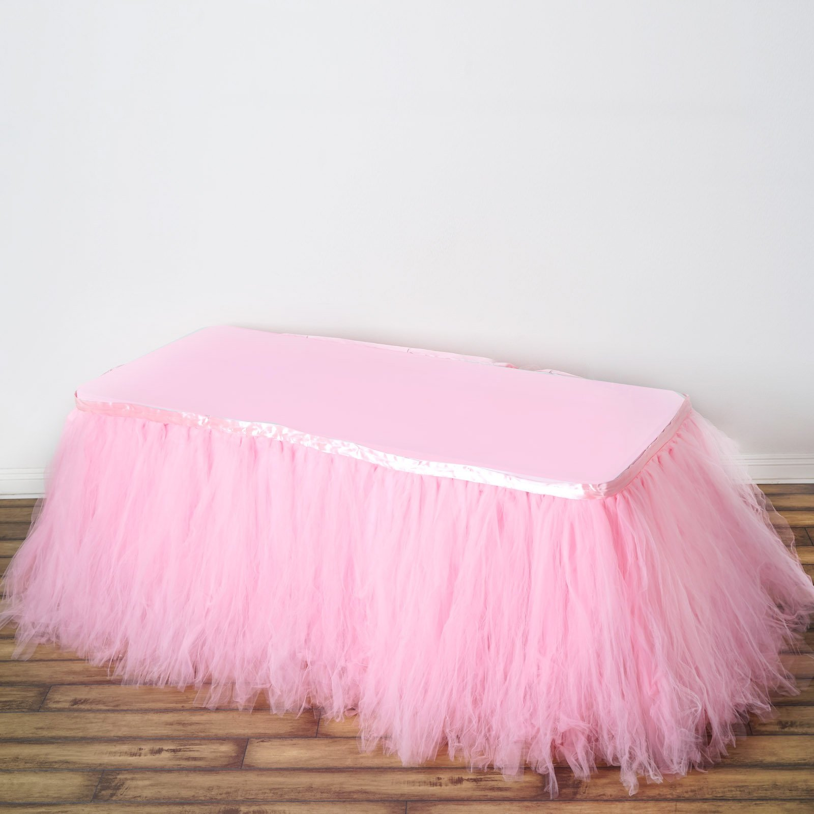 Tableclothsfactory 21ft FULL SIZE 8 Layer Fluffy Tulle - Tutu Table Skirt - Rose Quartz Pink by Tableclothsfactory (Image #1)