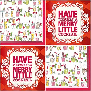 Funny Holiday Cocktail Napkins - Merry Cocktails Theme - 80 Count - Paper Beverage Party Napkins