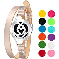 mEssentials Couple's Heart Essential Oil Diffuser Bracelet, Stainless Steel Aromatherapy Locket, Leather Band with 12 Color Pads, Womens Jewelry Gift Set