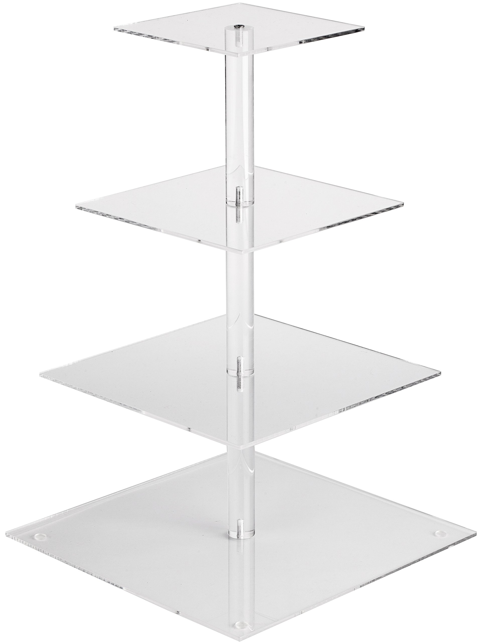 YestBuy 4 Tier Maypole Square Wedding Party Tree Tower Acrylic Cupcake Display Stand (18.7 Inches) ... by YestBuy