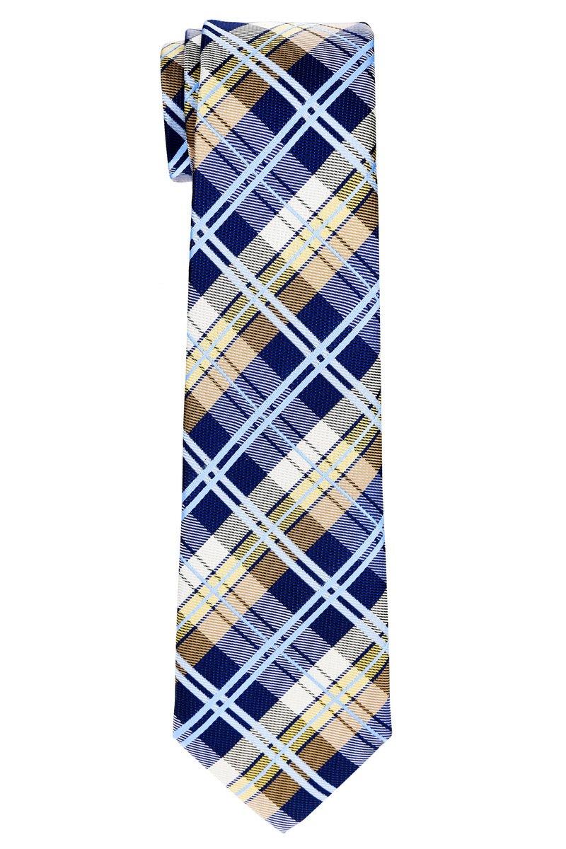 Retreez Elegant Tartan Plaid Check Woven Microfiber Boy's Tie (8-10 years) - Navy Blue and Khaki