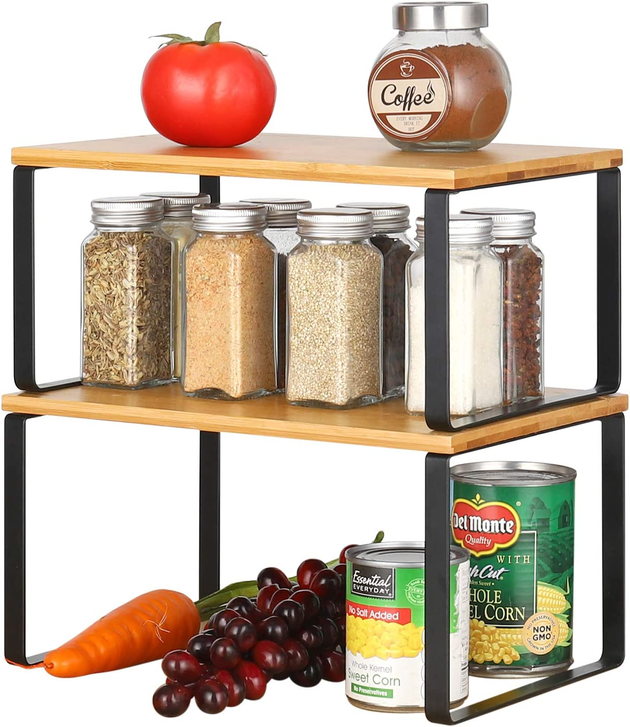 BTY Cabinet Shelf Organizer, Kitchen Counter Shelves Spice Racks 2 Pack Extendable & Stackable Counter Top Organizers Shelves for Kitchen, Cabinet, Table, Metal and Bamboo (Black)
