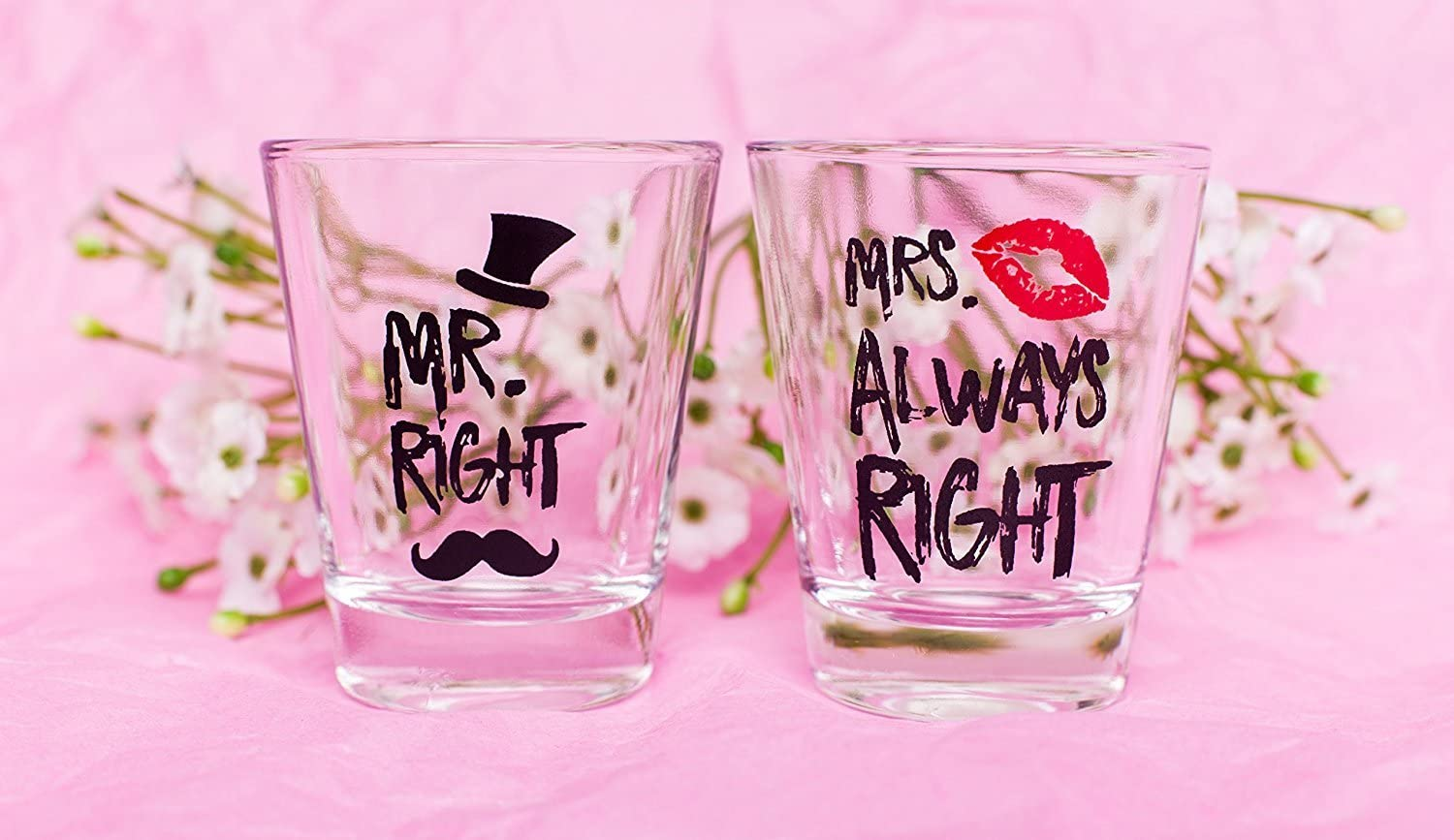 Right and Mrs Always Right Novelty Shot Glasses Engagement Gift for Couples Mr Funny Wedding Gifts