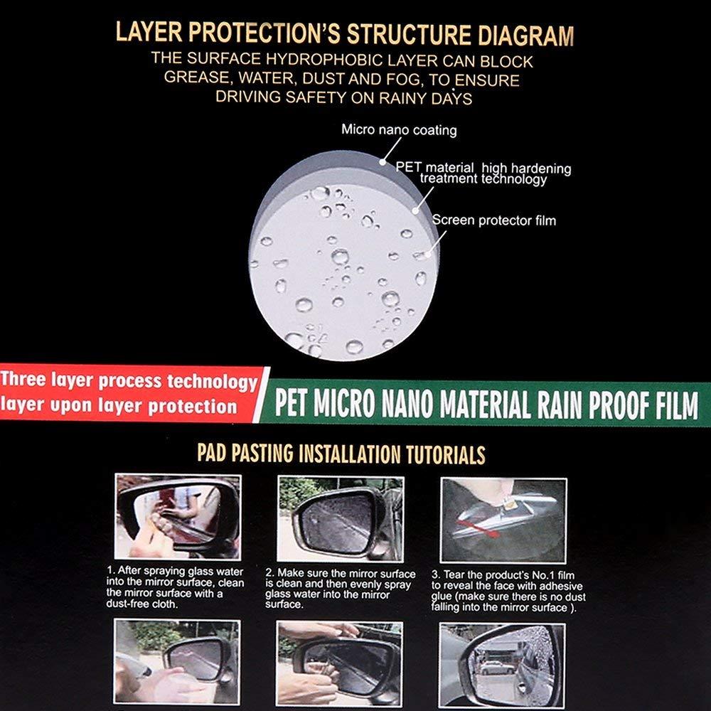 Transparent Nebel Regen Auto-R/ückspiegel-Schutzfolie Weichfolie Anti-Wasser Scrach Nano-Beschichtung Regenschutz-Nebelfolie f/ür Auto