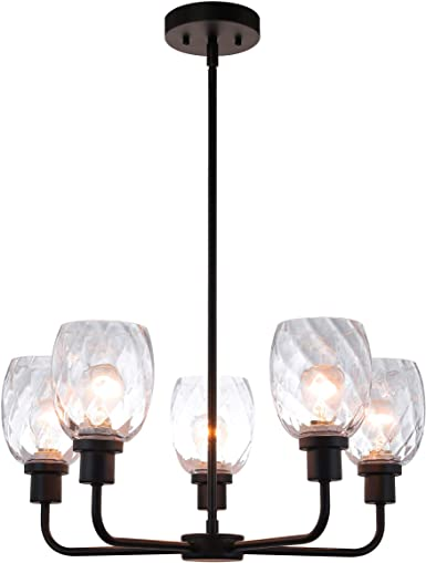 Amazon Com Xinbei Lighting Chandeliers Black Chandelier 5 Light Pendant Lighting With Glass For Living Dining Room Xb C1210 5 Mbk Home Improvement