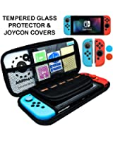 Nintendo Switch Case Bundle, Switch Accessories, Switch Screen Protector, JoyCon Cover Grip, 20 Game SD Memory Card Protective Carrying Case Starter Kit