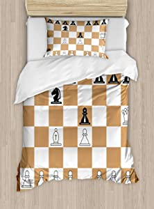Ambesonne Board Game Duvet Cover Set, Opening Position on Chessboard Letters Numbers Squares Pieces Print, Decorative 2 Piece Bedding Set with 1 Pillow Sham, Twin Size, Brown Black