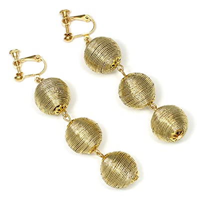Amazon com: Fashion Gold Color Ball Earring No Hole Ear