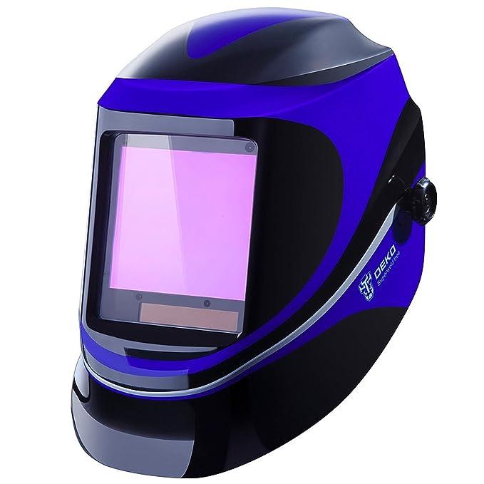 DEKO Casco de Soldadura Automática por Energía Solar de Profundidad Profunda Casco de Oscurecimiento con Pantalla de Gama Amplia de Sombra Ajustable 4/9-13 ...