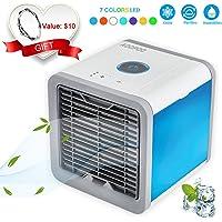 AOOPOO Mobiles Klimagerät Air Cooler Mini Klimaanlage Luftkühler, 3 in 1 Raumluftkühler Luftbefeuchter Luftreiniger, 7 Farbe LED-Licht 3 Kühlstufen Luftkühler mit USB für Büro Garage Hotel Garage Haus