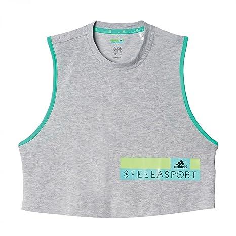 adidas StellaSport Damen Tanktop Cropped Tank Medium Grey