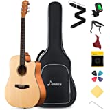 Donner Beginner Acoustic Guitar for Adult Teen Student Full Size 41 Inch Cutaway Acoustique Guitare Bundle Kit with Gig…