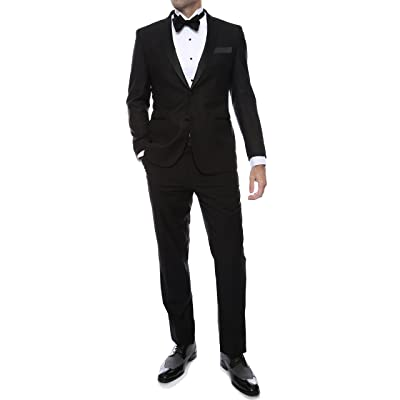 Ferrecci Men's Debonair Black Slim Fit Peak Lapel Collar 2 Piece Tuxedo Suit Set - Tux Blazer Jacket and Pants at Amazon Men's Clothing store