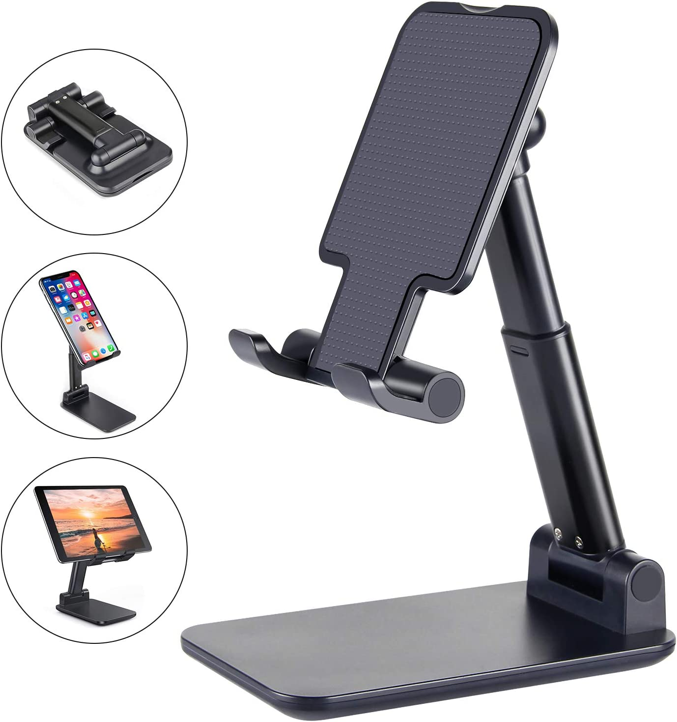 Cell Phone Stand, ANDATE Angle Height Adjustable Cell Phone Stand for Desk, Fully Foldable Cell Phone Holder, Tablet Stand, Case Friendly Compatible with All Mobile Phone/iPad/Kindle/Tablet (Black)
