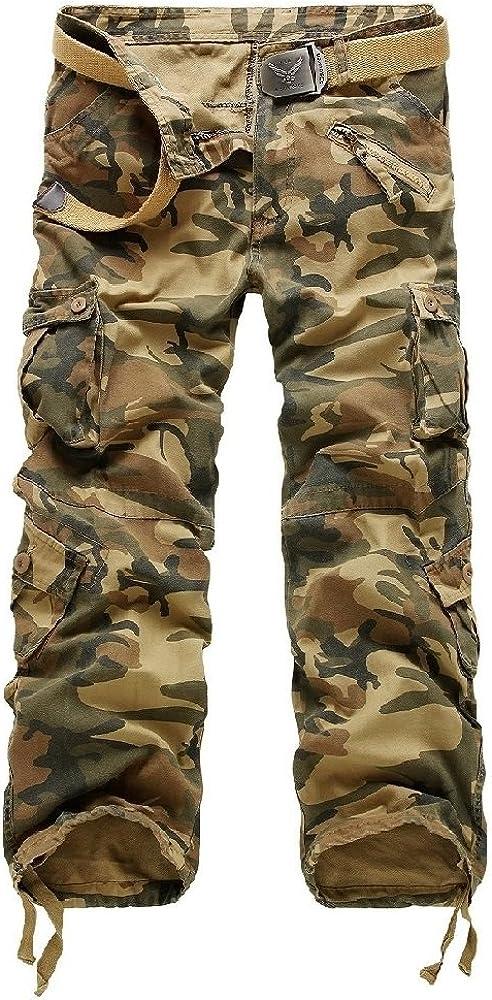 AYG Fit recta de carga pantalones casuales pantalones de trabajo de algodón militar para Hombres W29/L31(ES 38)29