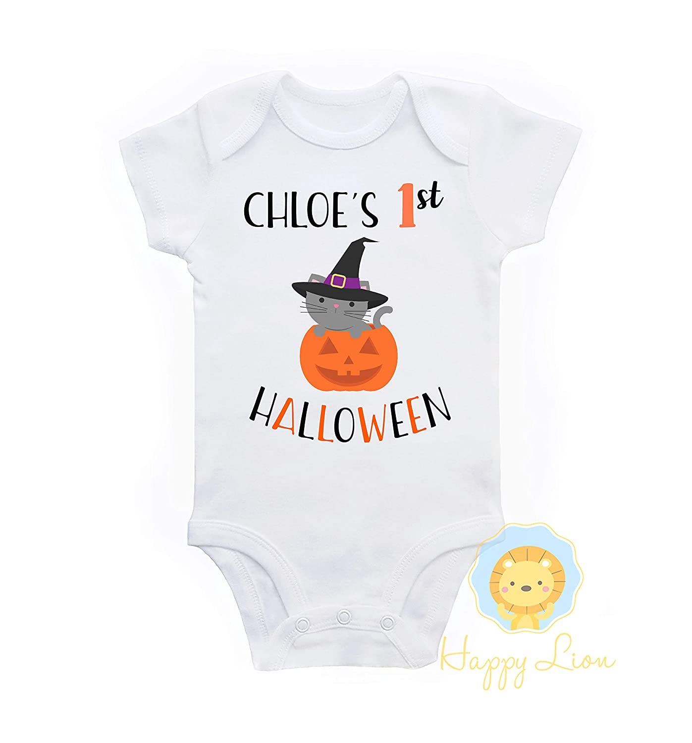 Happy Lion Clothing - 1st Halloween baby girl personalized onesie outfit