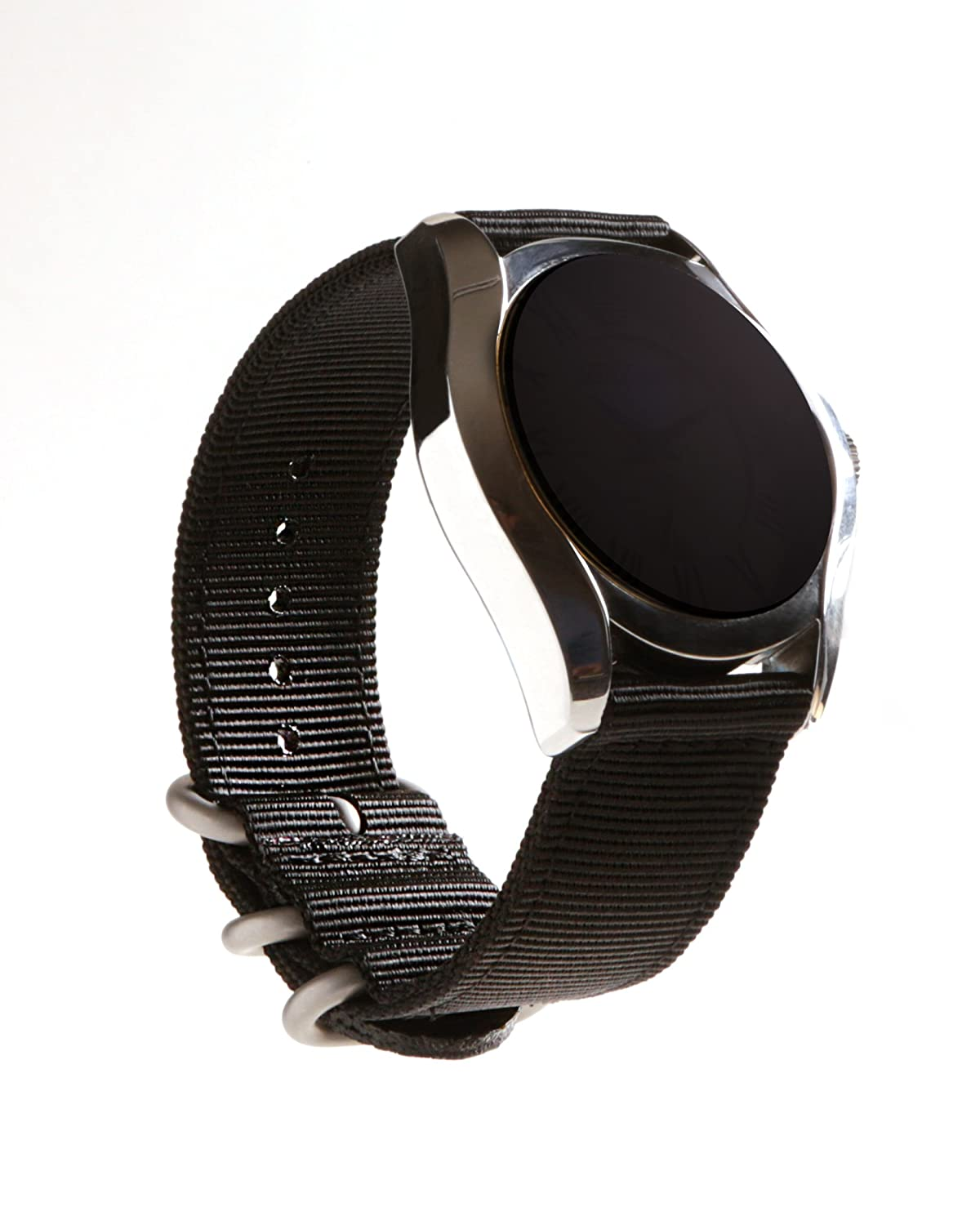 22mm And 24mm Tough Royal Woven Nylon Wrist Band Strap Bracelet with Stainless Steel Buckle 22mm And 24mm Tough Royal Woven Nylon Wrist Band Strap Bracelet with Stainless Steel Buckle Black 24 20mm KB KoolBands 18mm