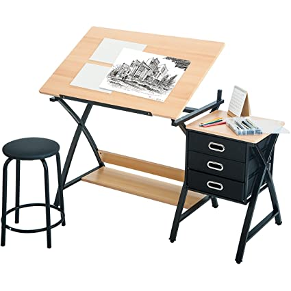Harperu0026Bright Designs Folding Drafting Table Drawing Desk With Three  Drawers And Stool ...