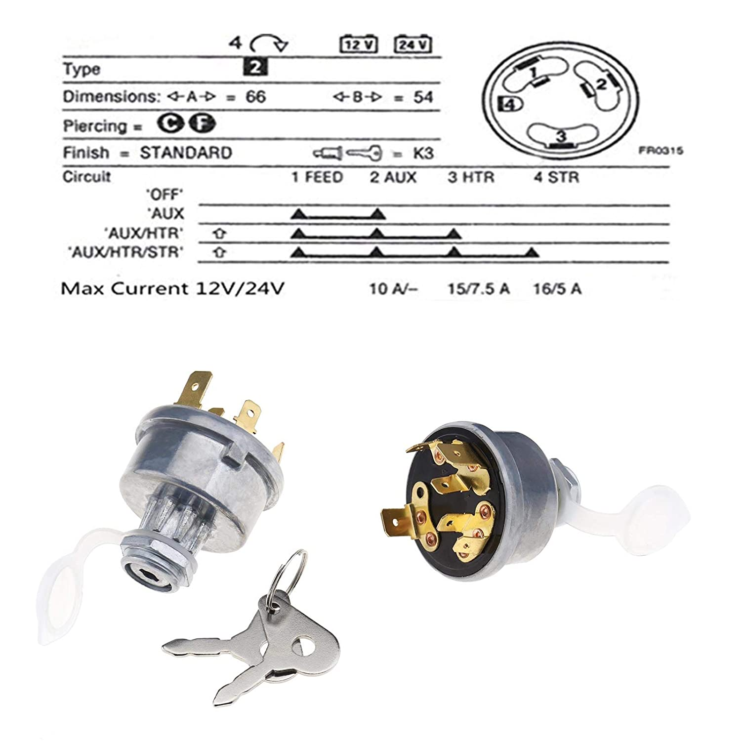 Ignition Lock Starter with 2-Key Set 4-Position 16MM Mounting Hole Compatible with 12239 for David Brown Landin Lucas Massey Ferguson Tractor