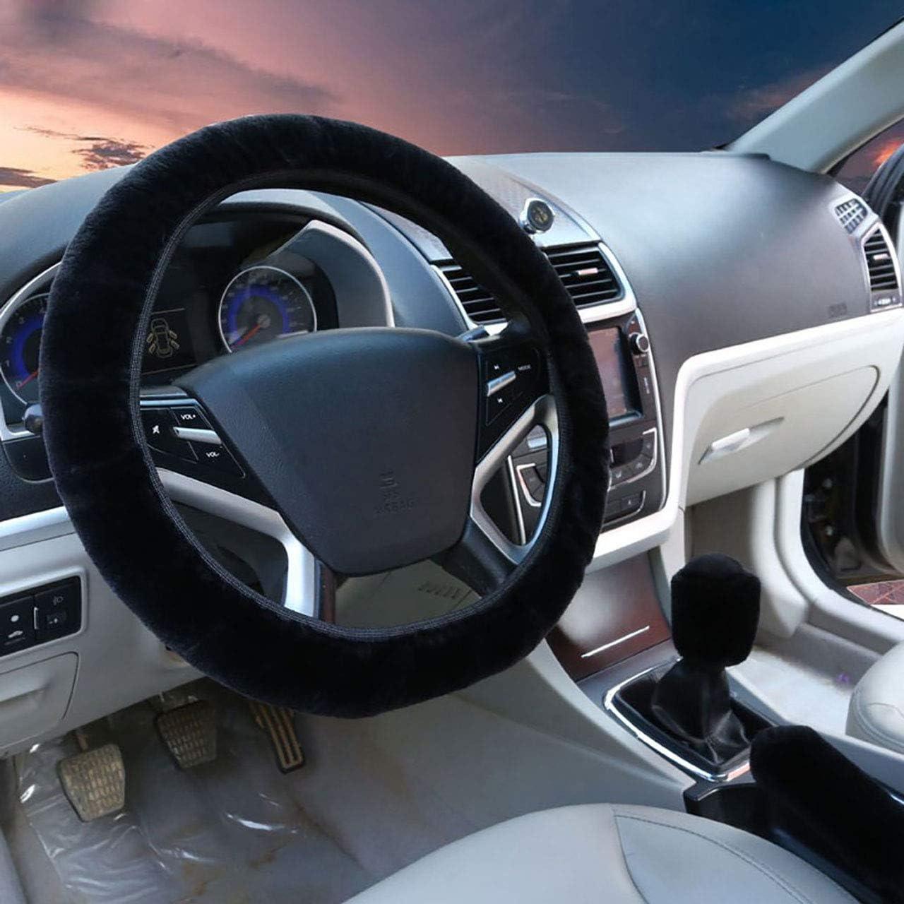 Lhiver Laine artificielle Couverture de volant de voiture Couverture de frein /à main Ensemble de vitesse Int/érieur de voiture