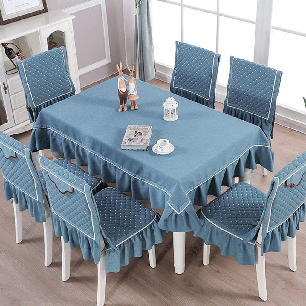 RFQL テーブルクロス、テーブルカバー テーブルクロスの家庭用綿と麻、長方形のテーブルクロス、4/6チェア用ダイニングチェアカバー、取り外し可能、洗える、4色 (色 : 青, サイズ さいず : Tablecloth 130*180cm) Tablecloth 130*180cm 青 B07S6SL2KN