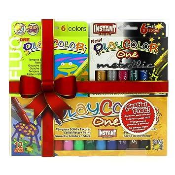 Playcolor - Pack one 12 basic + 6 flúo + 6 metallic + 3 póster
