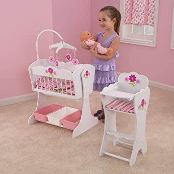 Gentil KidKraft Floral Fantasy Doll Furniture Set (3+ Years) Comprises A Dolls  Rocking Cradle