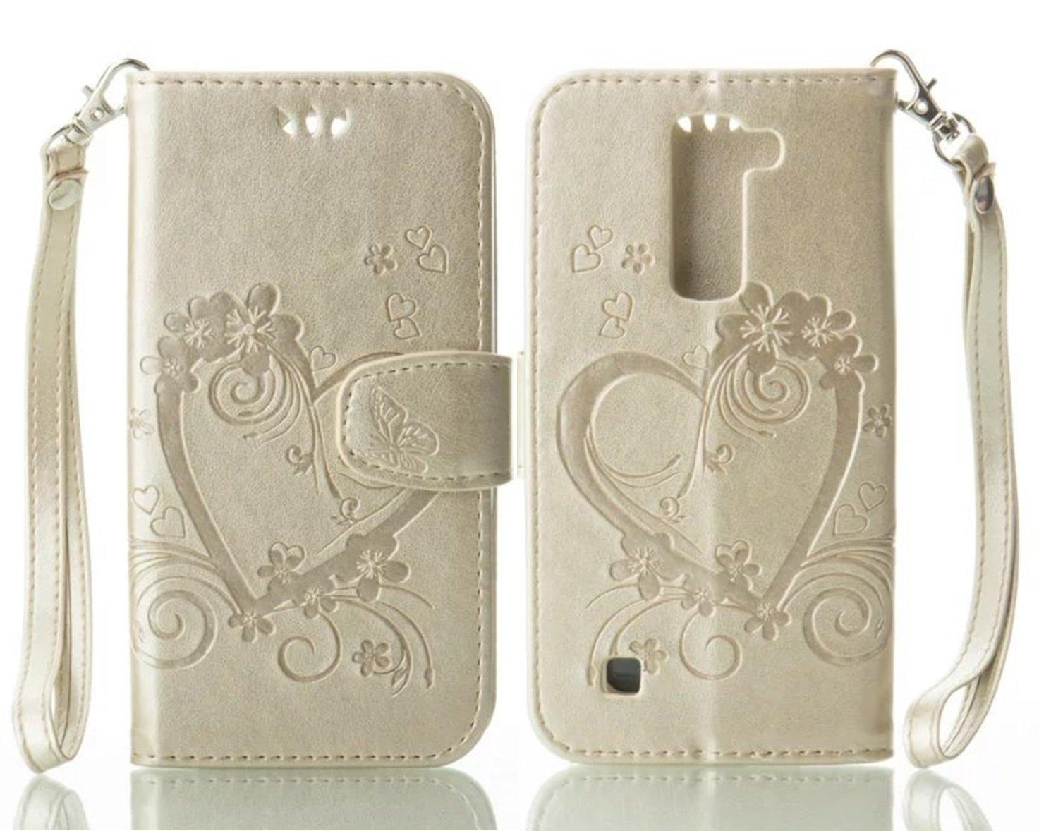 Amazon com: LG K7 Wallet Case, Knurling Love Heart Flower