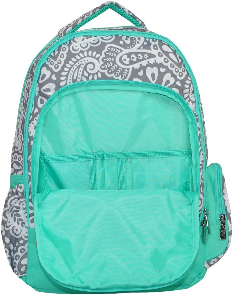 Personalized Parker Paisley Gray with Mint Trim Laptop Backpack