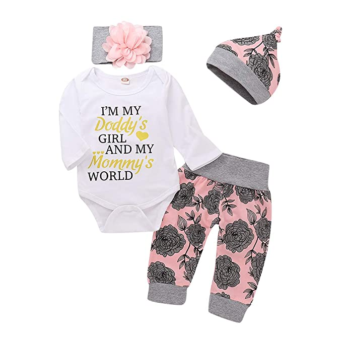 4de0e1590 4Pcs Baby Girls Clothes Set Daddy's Girl Romper Tops+Floral Pants+Hat+Flower