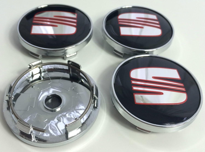 4 x color rojo logotipo de cromo emblema insignia 60 mm rueda centro tapacubos tapas fr deporte rendimiento: Amazon.es: Coche y moto