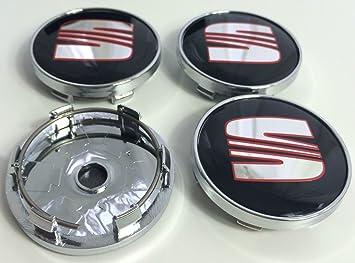X4 alta calidad Asiento 60 mm aleación rueda insignia emblema de Negro Rojo Plata centro HUB cubiertas Leon Ibiza Cupra Mii, Toledo Ateca Alhambra Arosa ...