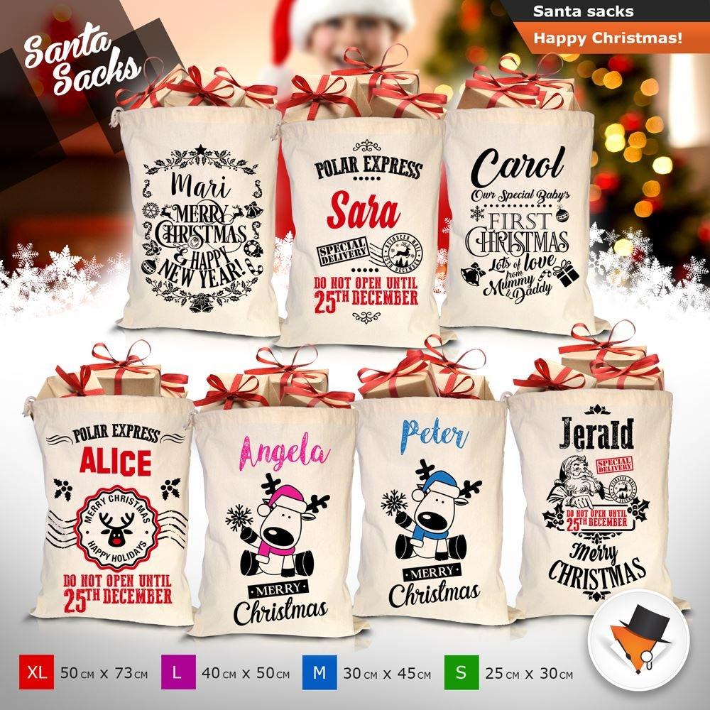 High Quality Cotton Santa Sack Christmas Stocking Vintage Custom Personalised Personalise Small Design P01 Lord Fox