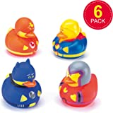 Baker Ross Hero Rubber Ducks for Children to Play with Perfect Party Bag Filler & Fun Bathtime Toy for Kids (Pack of 6)