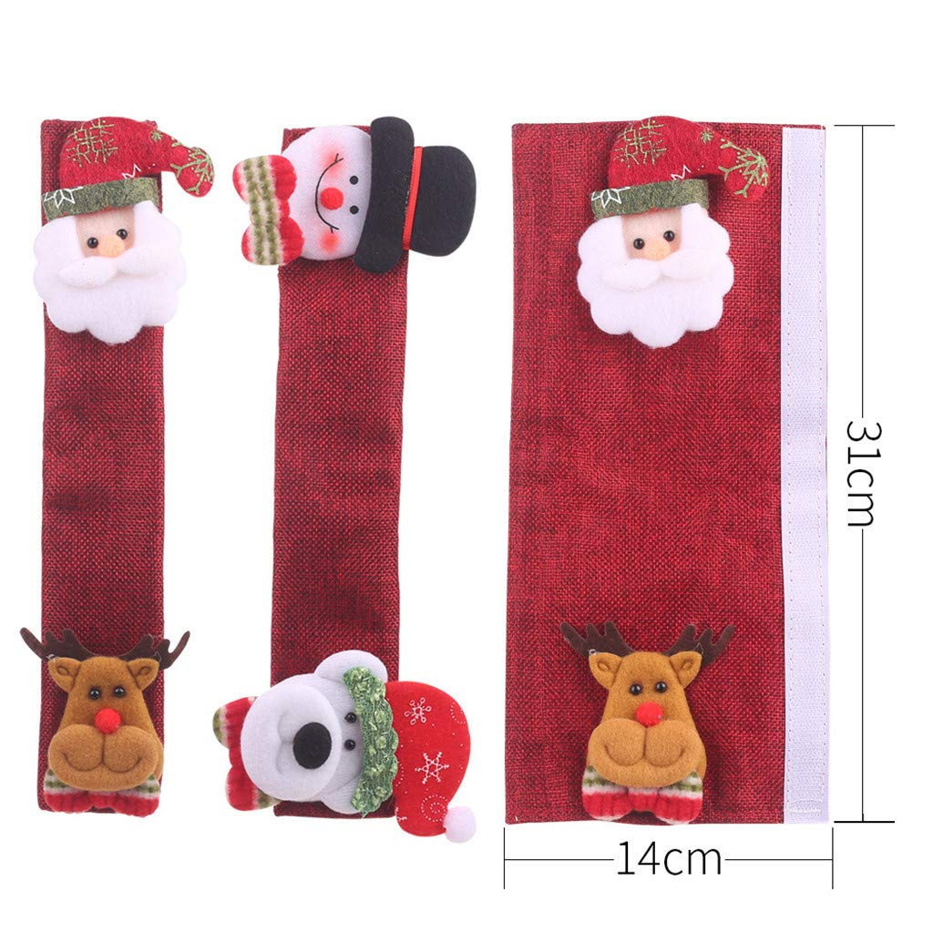 4 Packs Kitchen Appliance Handle Covers for Christmas Decoration Refrigerator Door Handle Cover Burlap Protector Gloves for Fridge Oven Microwave
