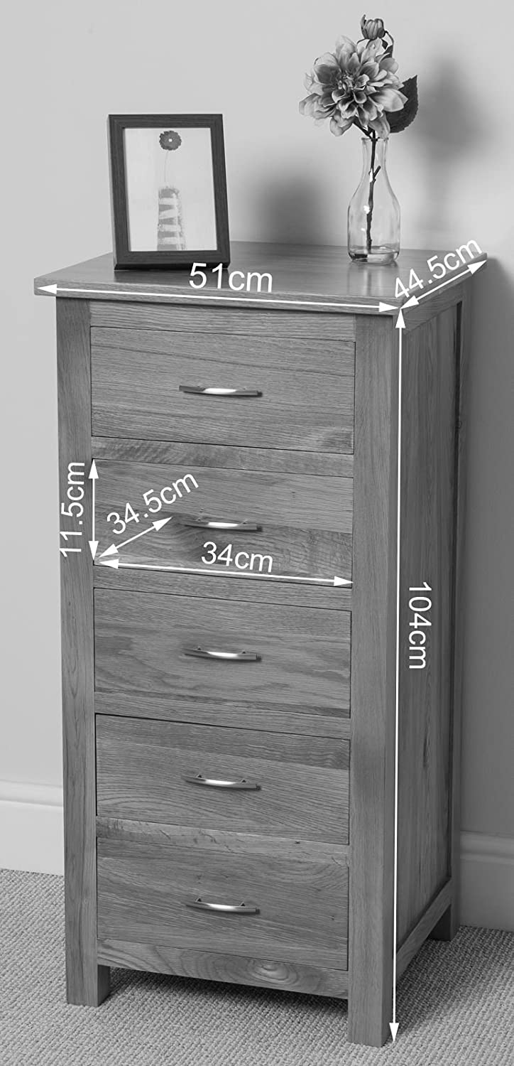 boston solid oak 5 drawer tall boy chest of drawers amazon co uk kitchen home