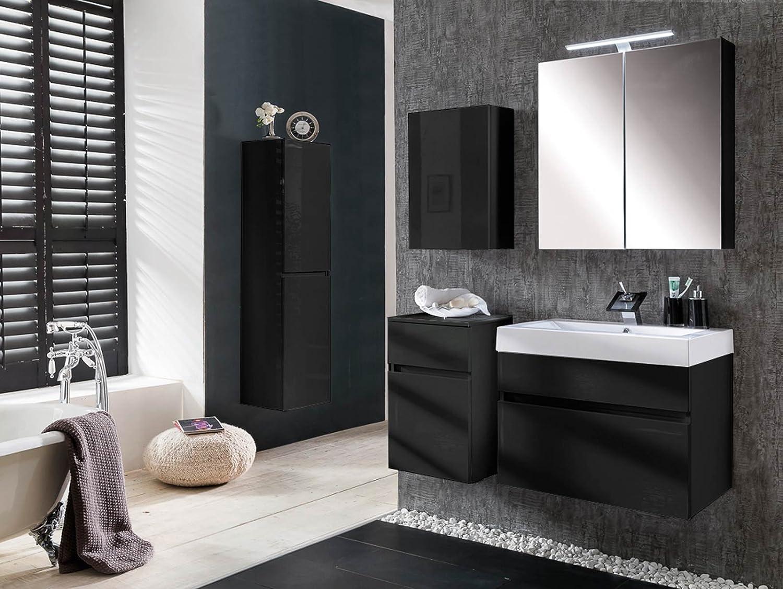 SAM® Design Badmöbel-Set Parma, 80 cm, in Hochglanz schwarz, 5tlg ...