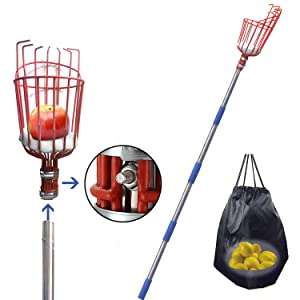 FLY HAWK Fruit Picker, a 8-Foot-Long Fruit Picker Equipped with Optional Splicing of Lightweight Stainless Steel to Pick Apples, Oranges and Fruit Trees (8 Foot)