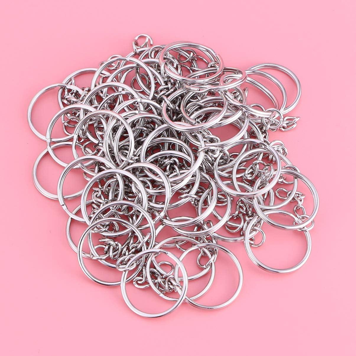 rosenice 50/pi/èces anneau de porte-cl/és avec cha/îne en m/étal pour cl/é couleur de nickel