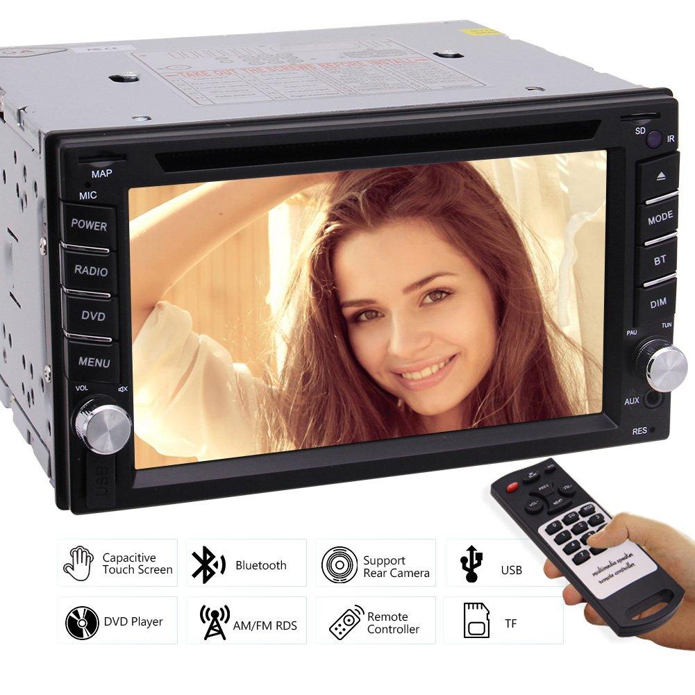 ステレオDVD CDプレーヤーFM AMラジオのサポートサブウーファー/ AUX / TF /車のロゴ/カメラ入力/カラフルなボタン/ 1080Pビデオ+リモコン6.2インチのHD 2DINタッチスクリーンのBluetoothカービデオプレーヤーAutoradio B0792V6FS2