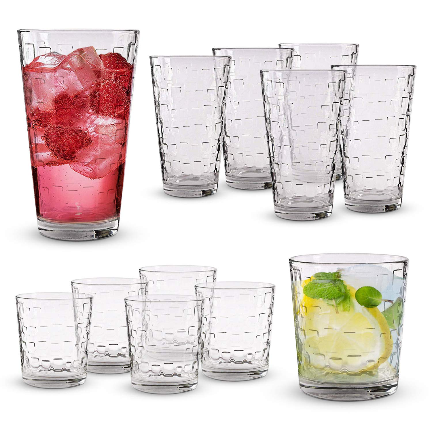 Emenest Clear Drinking Glasses (Set of 12) | Real Glassware with Heavy Base | 6 Highball and 6 Double Old Fashioned Drinkware | Mixed Tumbler Set For Water, Whiskey, Cocktails | Best Kitchen Gift