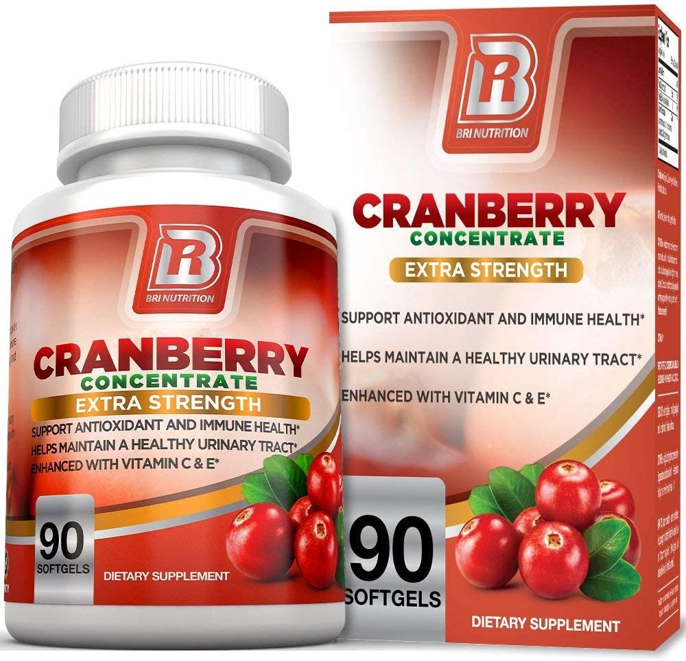 BRI Nutrition 3X Strength 12,600mg CranGel Power Plus: High Potency, Maximum Strength Cranberry SoftGel Capsules Fortified with Vitamins C and Natural E - 90 Softgels: Health & Personal Care