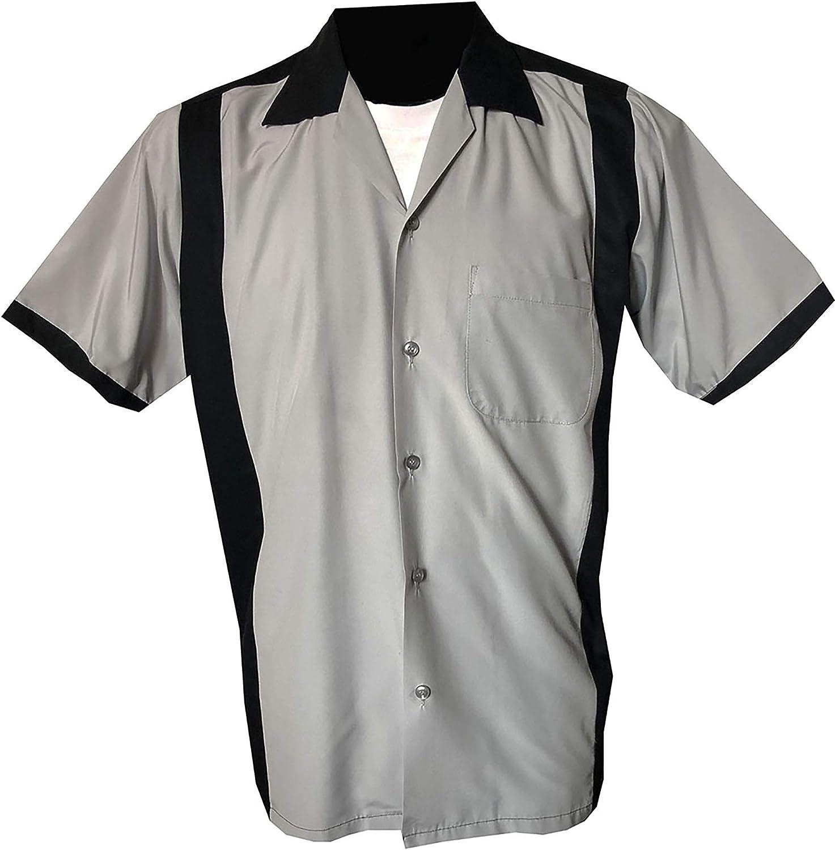 Rockabilly Fashions - Camisa con botones para hombre, estilo vintage de los años 50 de los 60, color negro y gris: Amazon.es: Ropa y accesorios