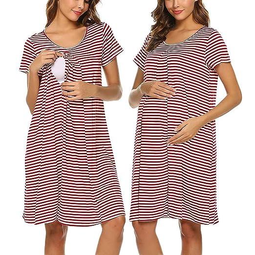 f05a11372e8ae Womola Women's Maternity Dress short sleeved striped Nursing Nightgown For Breastfeeding  Nightshirt Sleepwear at Amazon Women's Clothing store:
